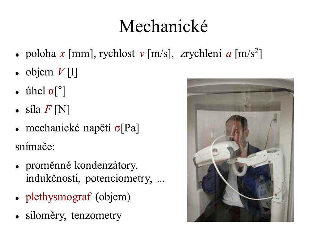 Mechanické poloha x [mm], rychlost v [m/s], zrychlení a [m/s2]